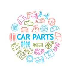 car part signs thin line round design template ad vector image