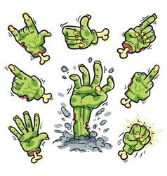 Cartoon zombie hands set for horror design vector