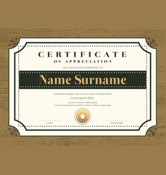 Certificate template with vintage frame on wooden vector