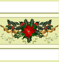 christmas holiday decorations with holly vector image