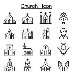 Church icon set in thin line style vector