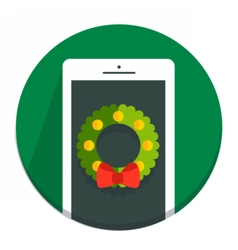 Circle Christmas icon flat wreath vector