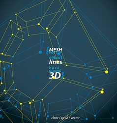 Collection of 3d mesh four-sided abstract objects vector image