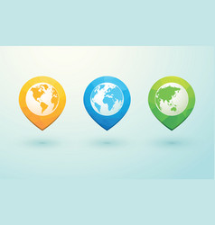 Color globes and arrow pins vector