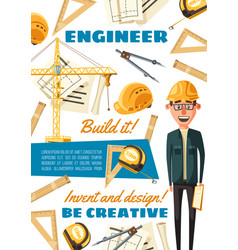 construction site builder engineer profession vector image