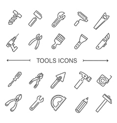 Construction tool icon collection vector image