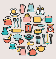 Cooking set kitchenware line color icons in vector