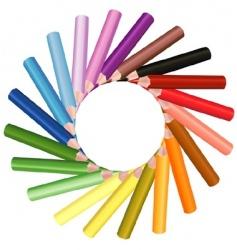 crayons sun shape vector image