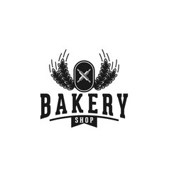 crossed rolling pin and wheat vintage bakery logo vector image