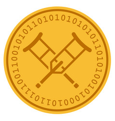 Crutches digital coin vector