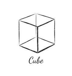 Cube geometric shape vector