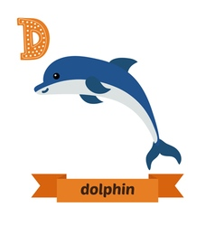 Dolphin D letter Cute children animal alphabet in vector