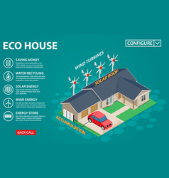 eco house concept - modern automatic systems with vector image