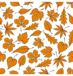 Falling yellow leaves seamless pattern background vector image