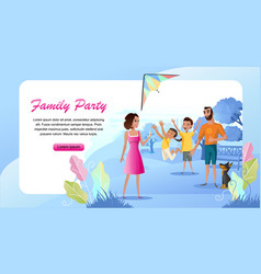 family outdoor party cartoon landing page vector image