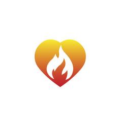 fire burning inside a heart for logo vector image
