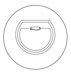 fish in round aquarium black icon in circle vector image