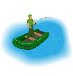 fisherman standing in a inflatable boat with vector image