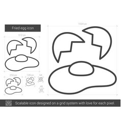 Fried egg line icon vector