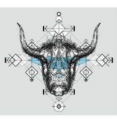Front view of yak head doodle vector