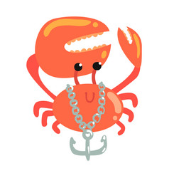 Funny cartoon crab with anchor chain colorful vector
