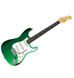 Green electric guitar vector
