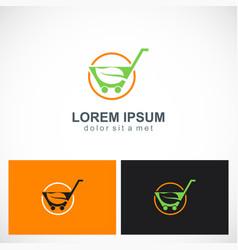 green leaf organic shopping cart logo vector image