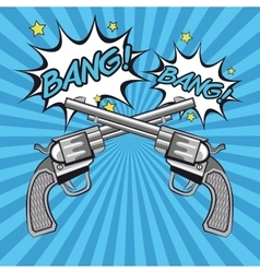 Gun revolver bang bubble design vector