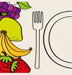 Half plate fork banana strawberry lemon grapes vector