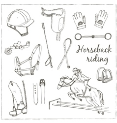 Hand drawn horse labels for activities vector
