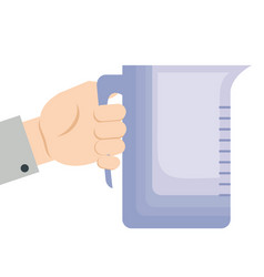 Hand holding plastic pitcher kitchen tool vector