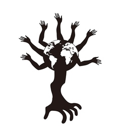 hand tree growing from earth vector image