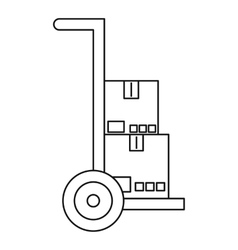 Hand truck with boxes icon outline style vector