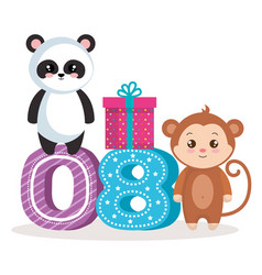 Happy birthday card with bear panda amd monkey vector