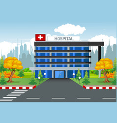 Hospital building with town background vector