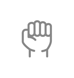 Human fist line icon violence and physical vector