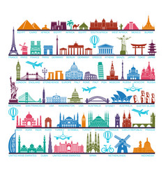 Icons world tourist attractions and architectural vector