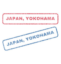 Japan yokohama textile stamps vector