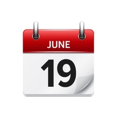 June 19 flat daily calendar icon Date vector