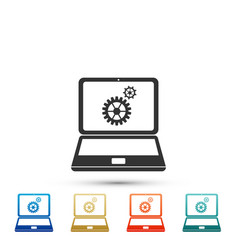 laptop and gears icon isolated on white background vector image