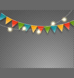 light and flag garlands isolated on transparent vector image