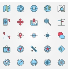 Location icons set vector