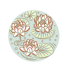 Lotus floral round plate design vector
