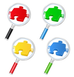 magnifying glasses with puzzle pieces vector image