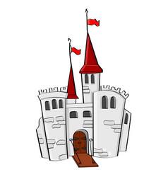 medieval castle cartoon colored doodle vector image