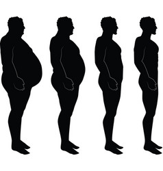 Men silhouette losing weight fat thin vector