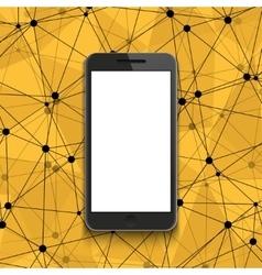 modern smartphone on polygonal background vector image