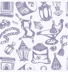 Muslim symbols - hand drawn seamless pattern vector