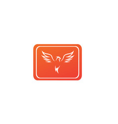 phoenix flying bird and eagle open wings logo vector image