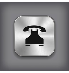 Phone icon - metal app button vector image